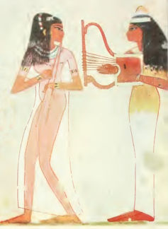 Flute and Lyre scene from the tomb of Djeserkara Amenhotep I