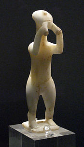 Cycladic statue of a double-flute player, 2700-2500 BCE