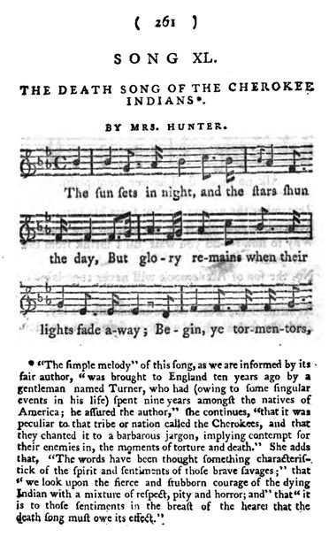 Death Song of the Cherokee Indians (1794)