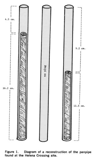 Drawing of a reconstruction of the Helena Crossing Hopewell panpipe