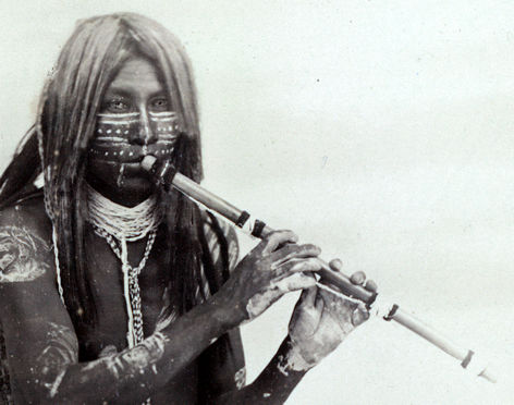 Detail of Yuma flute player