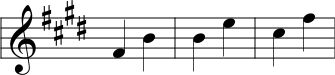 Three Perfect Fourth intervals written in Nakai Tab notation