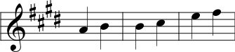 Three Major Second intervals written in Nakai Tab notation
