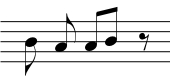 Two eighth notes and a eighth rest
