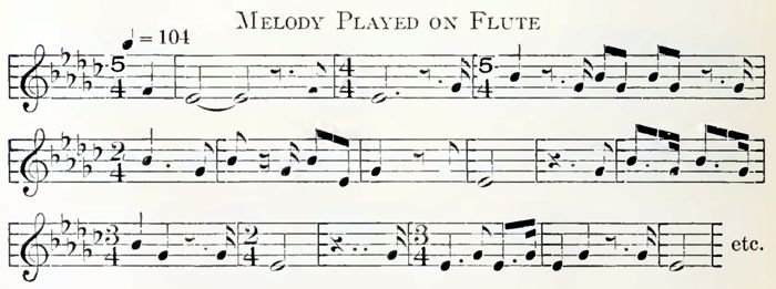 Transcription of the flute melody by Frances Densmore