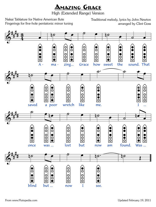 Amazing Grace - High Version - five-hole Pentatonic Minor