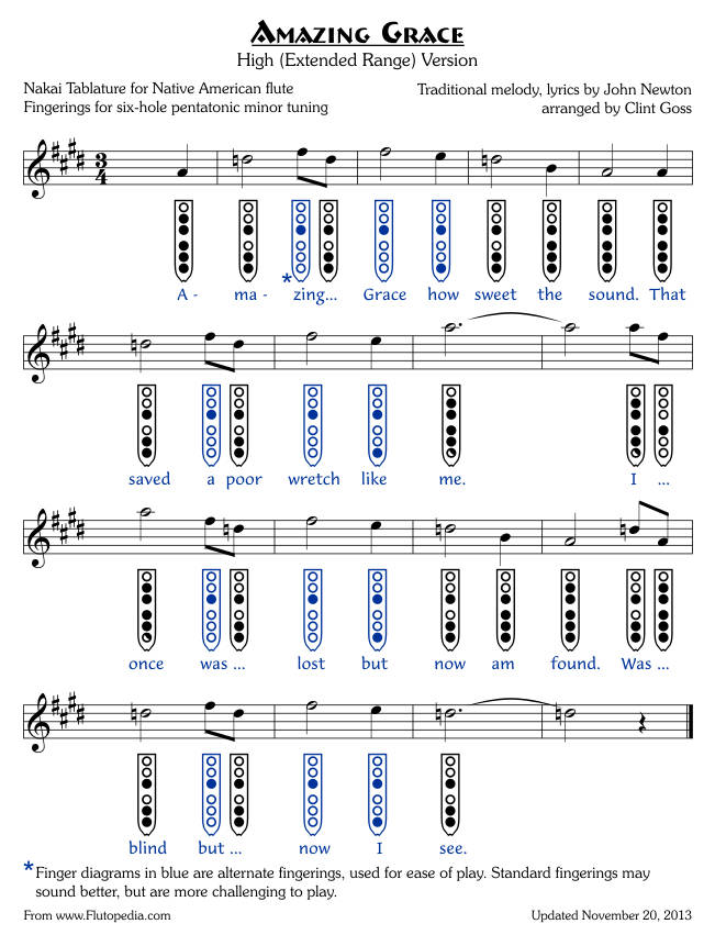 Amazing Grace - High Version - six-hole Pentatonic Minor - Inverted Finger Diagrams