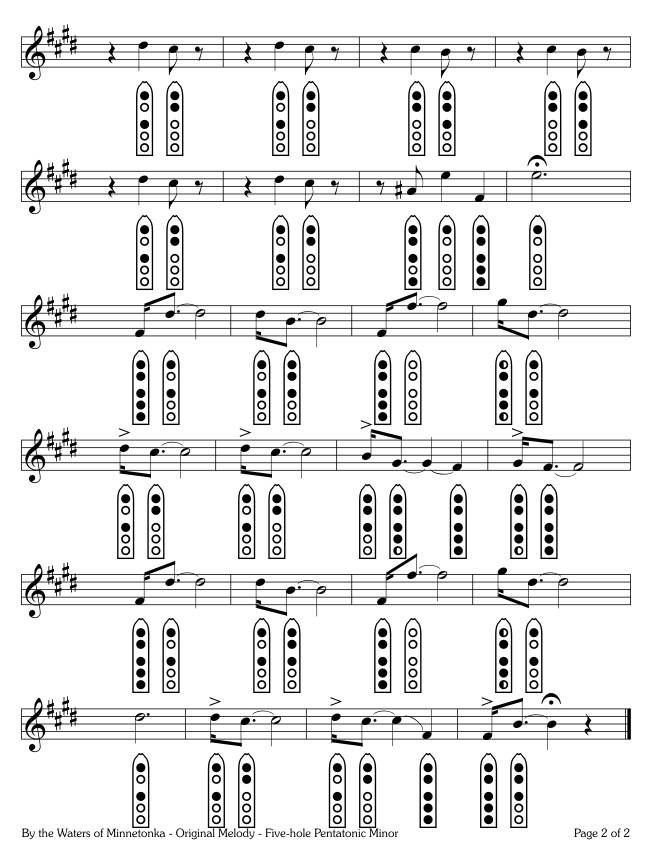 By the Shores of Minnetonka - Original Melody - five-hole Pentatonic Minor