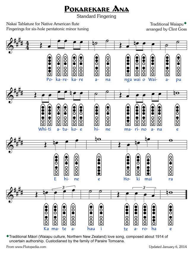 Pokarekare Ana - Standard Fingerings - Six-hole Pentatonic Minor