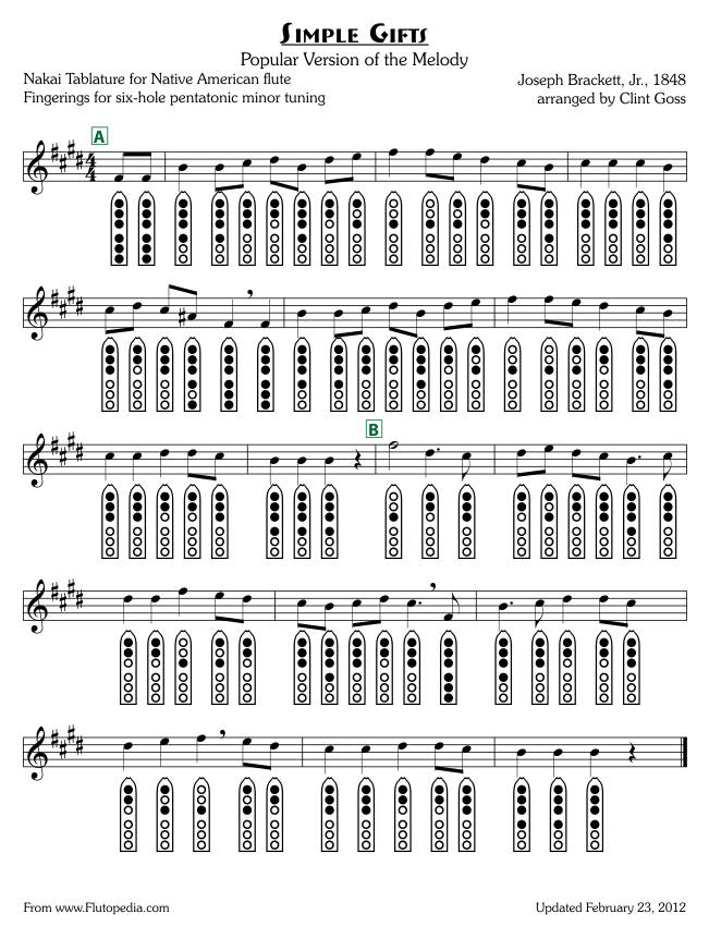 Simple Gifts - Popular Arrangement - six-hole Pentatonic Minor