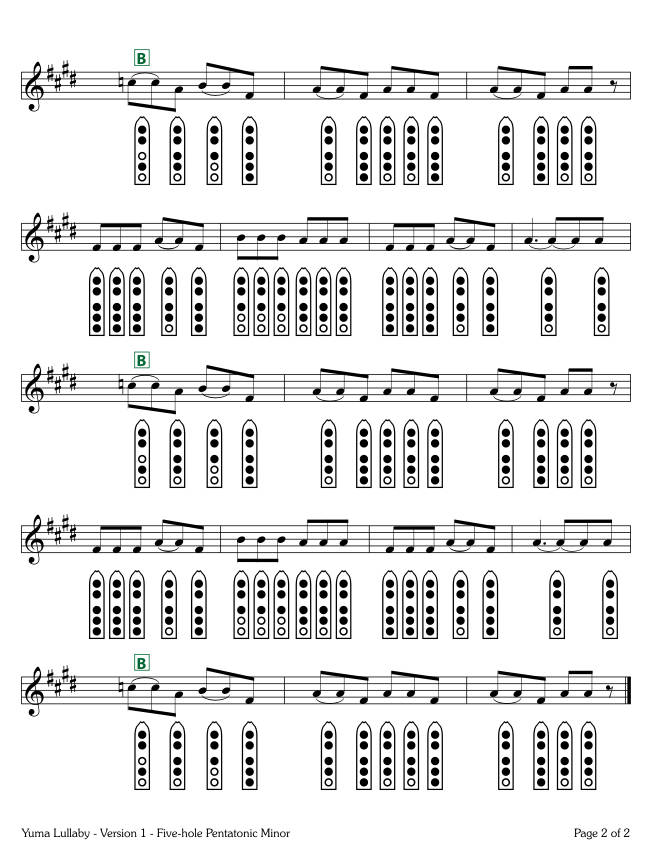 Yuma Lullaby - Version 1 - five-hole Pentatonic Minor